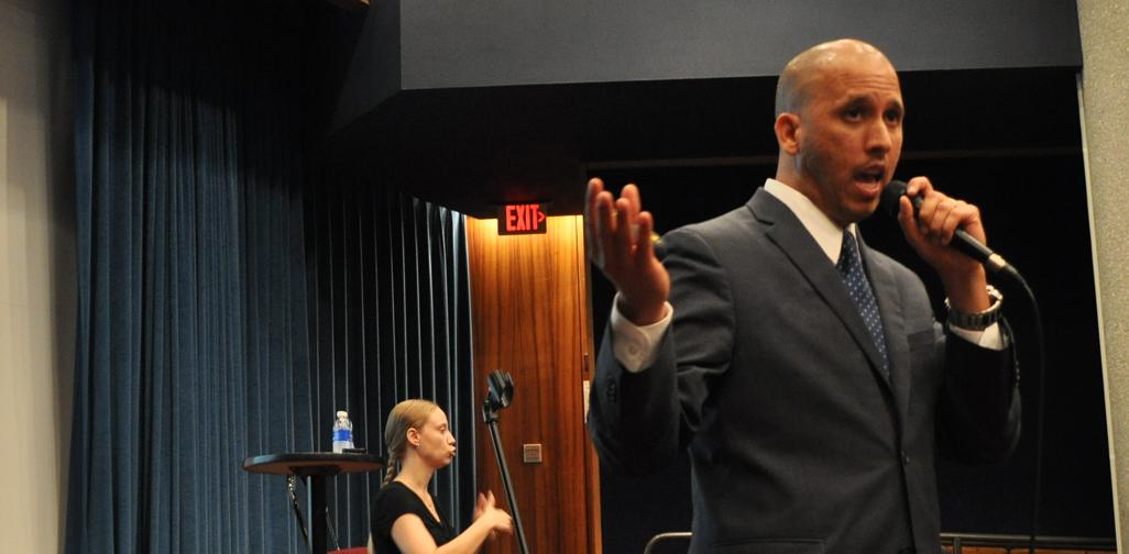Andres Lara, during his session at Brooken's Auditorium, as a part of ECCE Speaker Series. Lara is a motivational speaker.