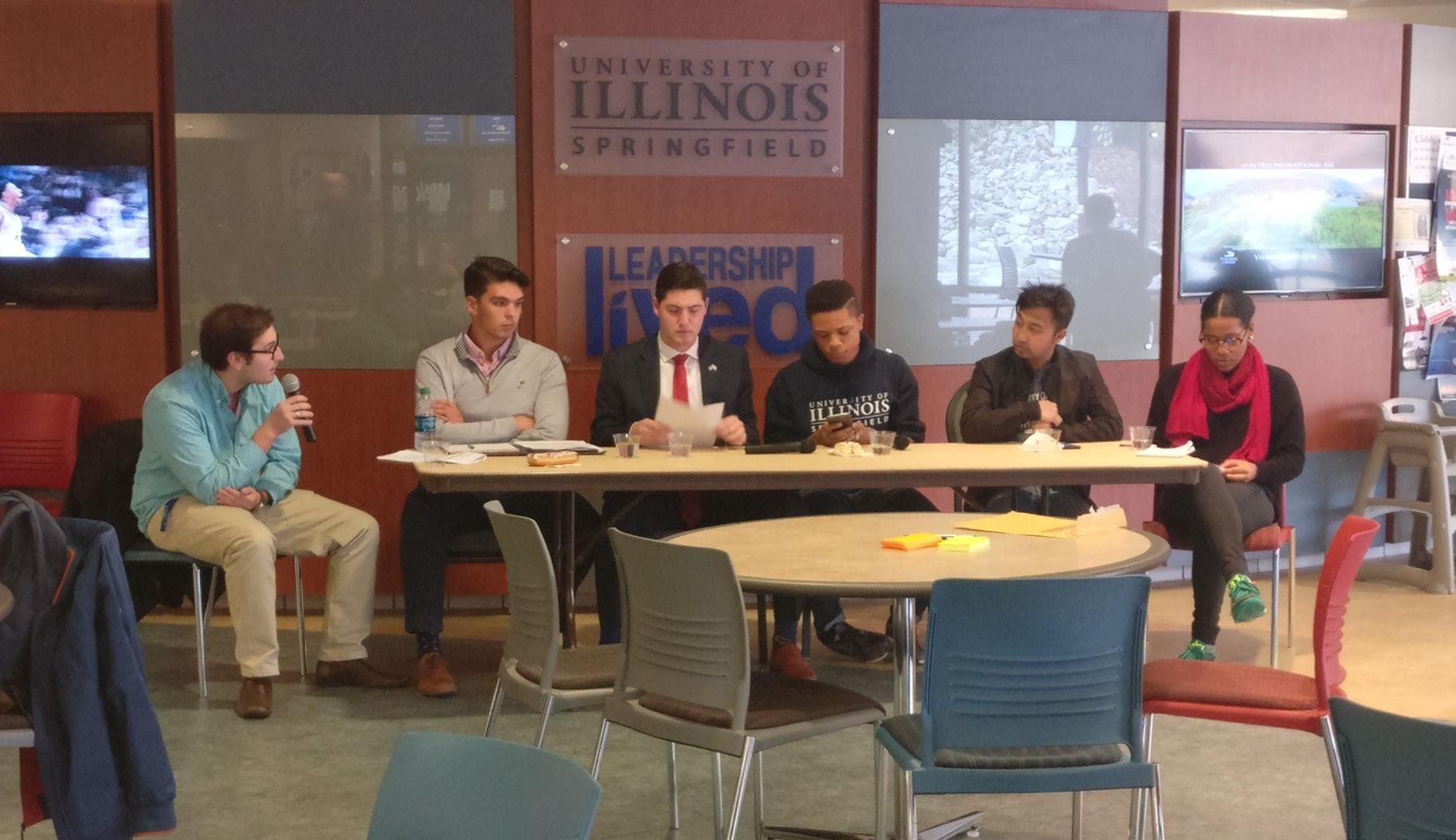 SGA President Austin Mehmet moderated the Democracy & Donuts III panel comprised of various student leaders on campus.
