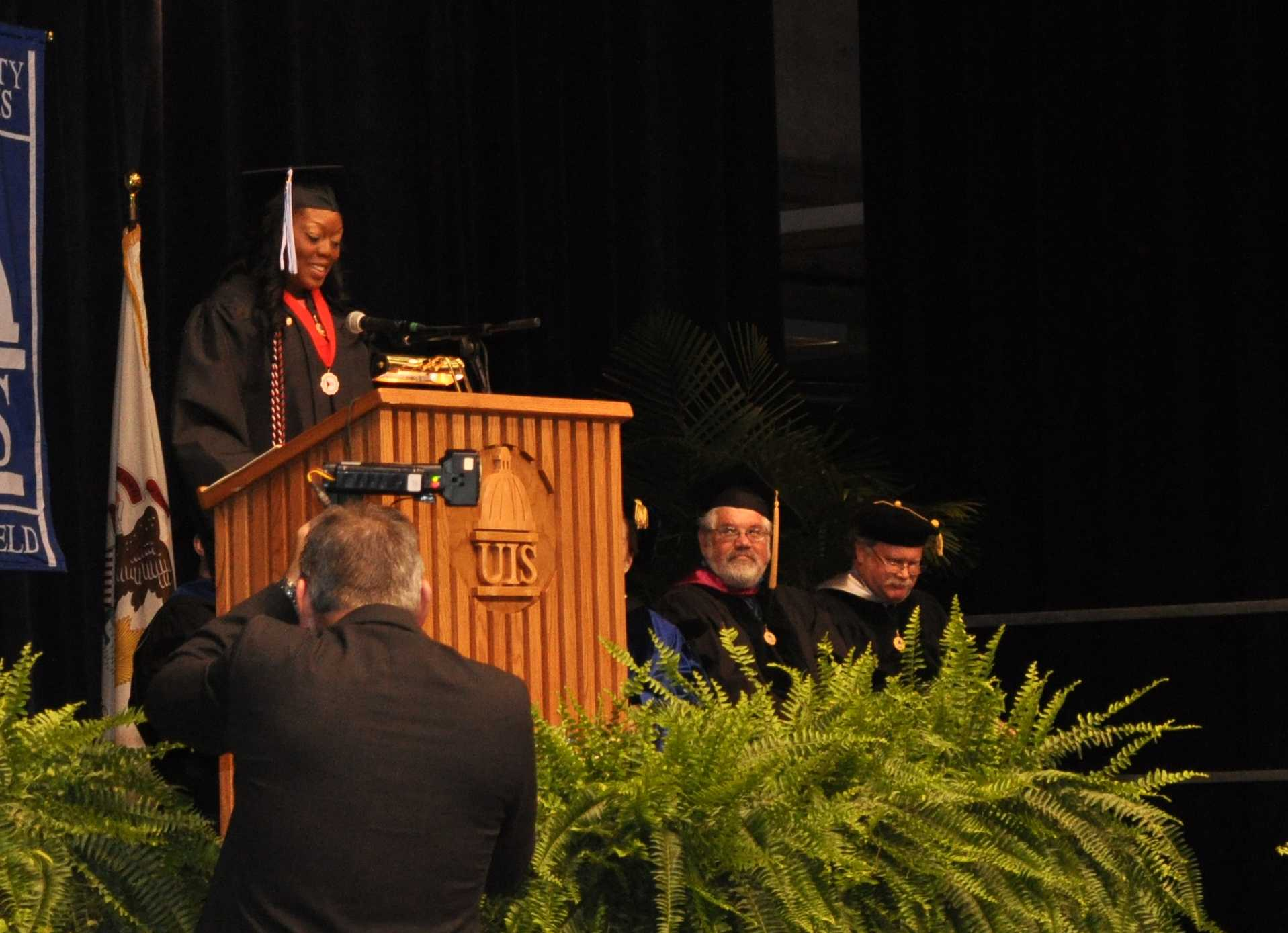 Jessica Odigie, UIS graduate of 2012, delivers her student commencement address.