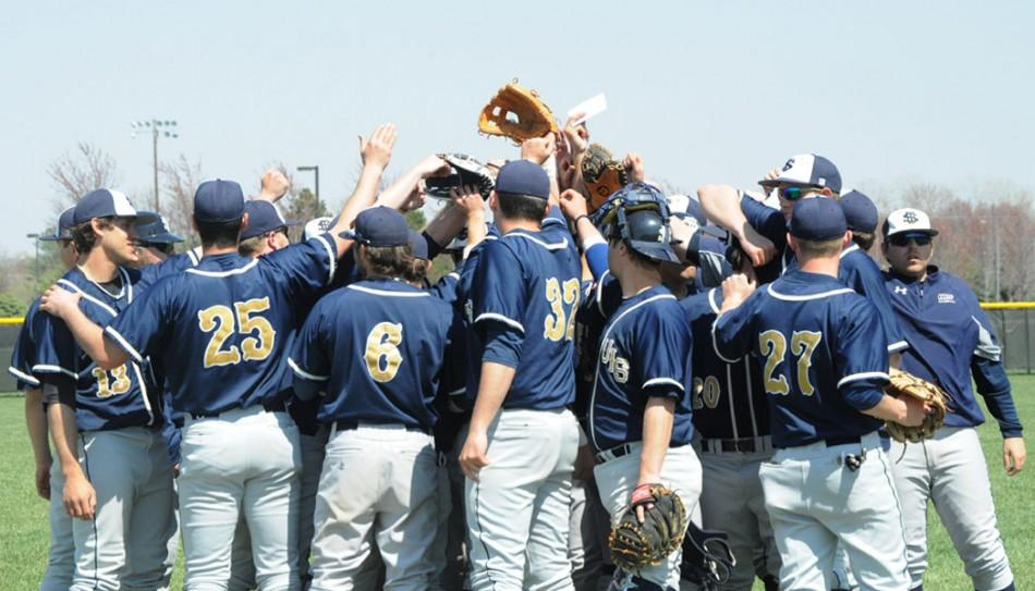UIS+baseball+players+group+together+between+games+for+a+moment+of+team+support.
