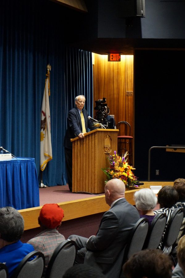 Dr. Michael Burlingame speaks at the 14th annual Lincoln Legacy Lecture Series.