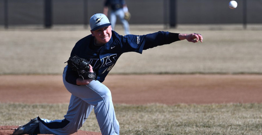 Prairie Stars player Adam Greday pitches in the same against Lewis Flyers.  Photo Courtesy UIS Athletics