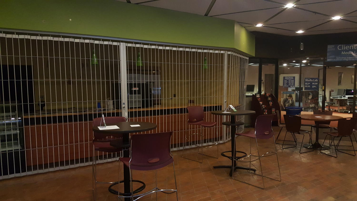 Currently closed Mary Jane's Café in the lower level of Brookens Library