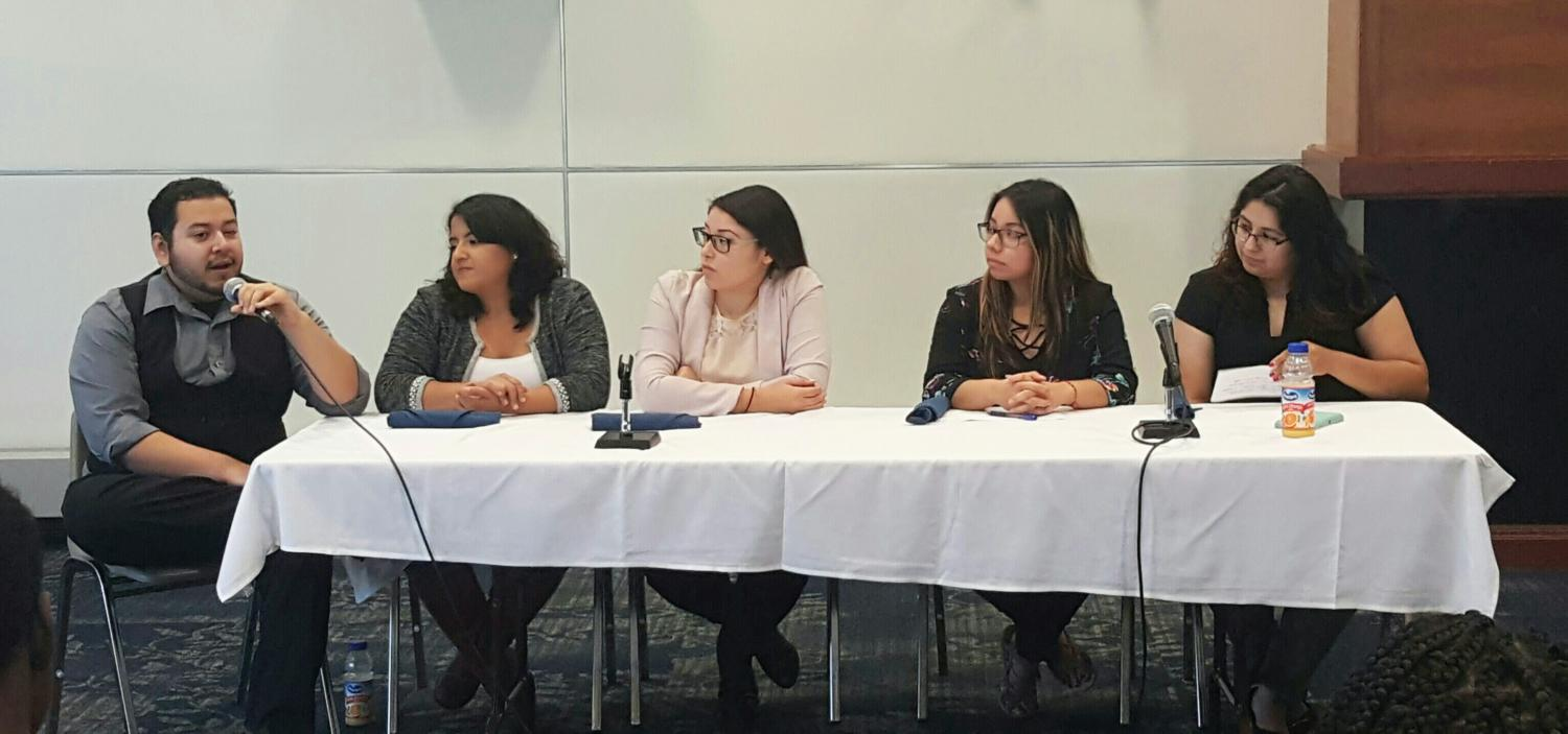 Panelists Daniel Aguilar, Jasmine Jetton-Gonzales, Kerry Portillo-Lopez, Arceli Ariza, Cynthia Rodriguez-Garcia discuss the Latinx experience