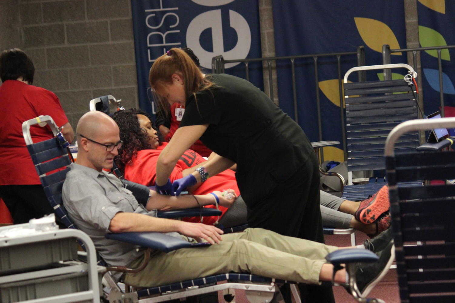 A man getting his blood drawn at UIS by the Mississippi Valley Regional Blood Center