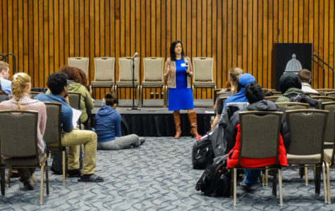 "Students participate in the ""immigration simulation"" in the UIS student union building"